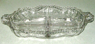 Cambridge Chantilly Three Part Footed Relish Dish - Very Nice