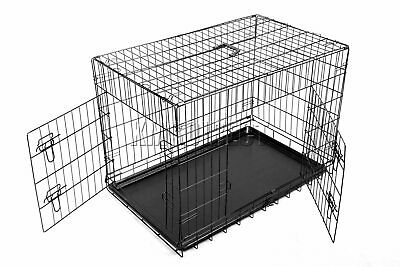 FoxHunter Pet Cage – Strong Metal Travel Crate For Dog Cat Puppy Vet 2 Doors
