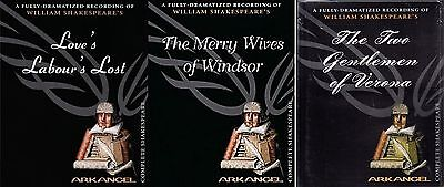 3 Shakespeare Audiobooks Two Gentlemen Merry Wives Love's Labour Unabr Tapes NEW