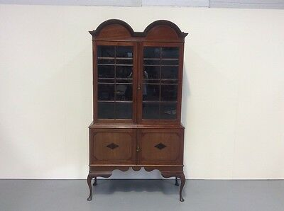 Antique Edwardian Inlaid Mahogany Display Cabinet Double Dome Top L@@@k
