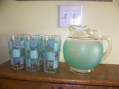 Six vintage Mid Century sage green heavy large beverage glasses with pitcher