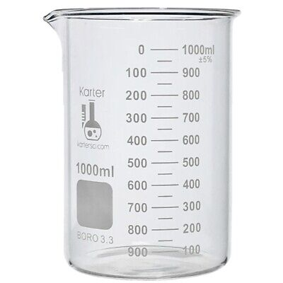 Karter Scientific, 1000 ml Low Form Graduated Glass Beaker