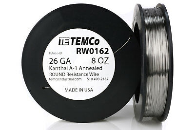 TEMCo Kanthal A1 wire 26 Gauge 8 oz (813 ft) Resistance AWG A-1 ga