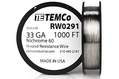 TEMCo Nichrome 60 series wire 33 Gauge 1000 Ft Resistance AWG ga