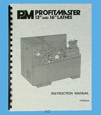 "ProfitMaster 13"" & 16"" Lathes Instruction and Parts List Manual *512"