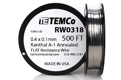 TEMCo Flat Ribbon Kanthal A1 Wire 0.4mm x 0.1mm 500 Ft Resistance A-1