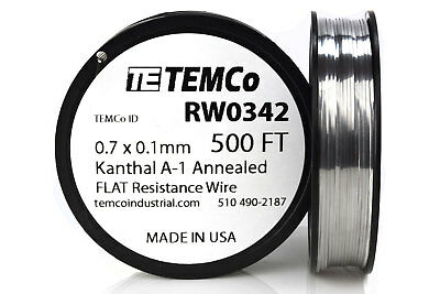 TEMCo Flat Ribbon Kanthal A1 Wire 0.7mm x 0.1mm 500 Ft Resistance A-1