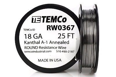 TEMCo Kanthal A1 wire 18 Gauge 25 Ft Resistance AWG A-1 ga