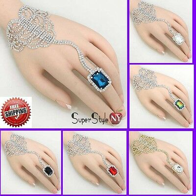 Square Arabic Clear Crystal Bracelet Ring Body Slave Jewelry Hand Chain Wedding