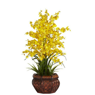 New 30 Tall Artificial Silk Yellow Dancing Lady Orchid Fake Flower