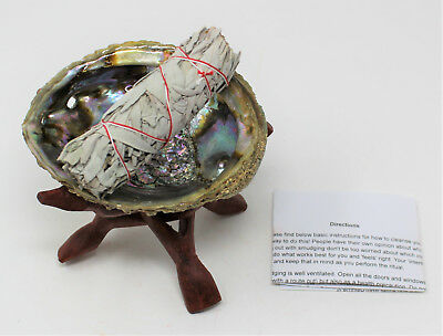 """Abalone Shell, 6"""" Wood Stand White Sage Smudge Stick & Directions: Complete Kit!"""