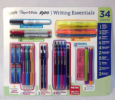 Paper Mate Sharpie 34-pack Writing Essentials Ball Point Pens Markers Pencils