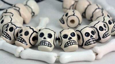 SKULL & BONE  Shaped Glazed Beads   x  50 SKULL & BONE  Holed Side-Side