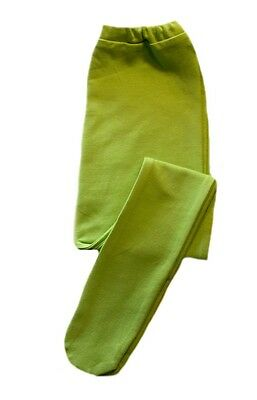 Baby Girl Lime Green Cotton Spandex Knit Tights - Preemie Newborn, Toddler Sizes