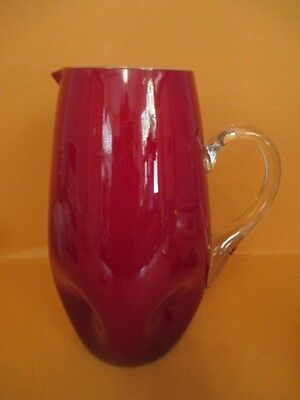 F6 MCM Ruby Art Glass Cocktail Pitcher Pinched Design Applied Handle