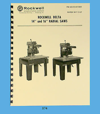 """Rockwell / Delta 14"""" & 16"""" Radial Saw Operator and Parts List Manual  * 874"""
