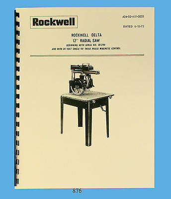 "Rockwell / Delta 12"" Radial Arm Saw Operator and Parts List Manual  * 876"