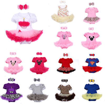 Newborn Baby Girl Skirt Tutu Headband Infant Bodysuit Toddler Romper Kid Clothes