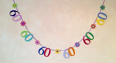 60th BIRTHDAY PARTY BANNER BUNTING DECORATION