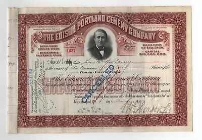 The Edison Portland Cement Company Stock Certificate - Miller