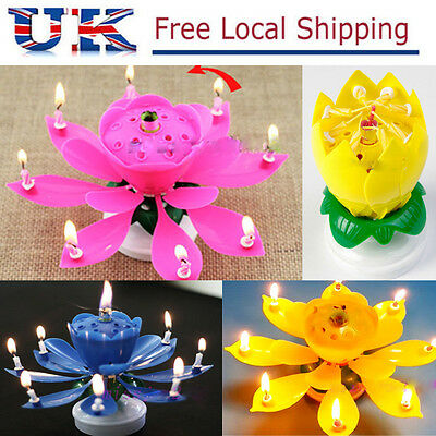 Amazing Flower Candle Gift Happy Birthday Magical Blossom Lotus Musical Rotating