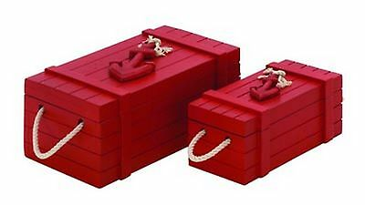 Nautical Storage Box Set of 2 Red In Color Anchor Accent New