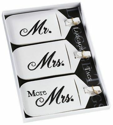Honeymoon Gifts Set of 3 Mr and Mrs Luggage Tags Wedding Gifts