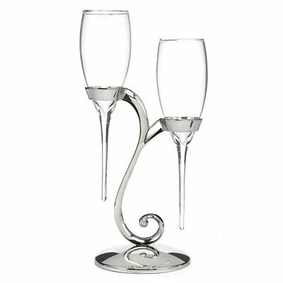 Raindrop Toasting Flutes with Swirl Stand Set of 2 Wedding Toasting Glasses