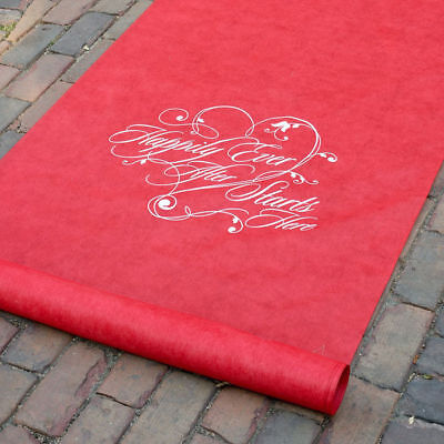 Wedding Aisle Runners Happily Ever After Red Aisle Runner 100' Long