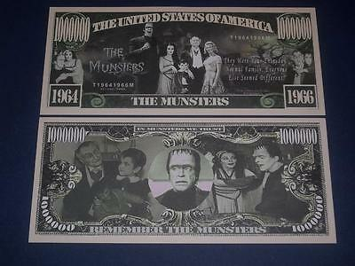 Unique Unc. $1,000,000 Novelty U.s. Banknote Of The Famous 1960's The Munsters!