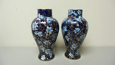 "BEAUTIFUL MATCHED PAIR of ANTIQUE ENGLISH FLOW BLUE 9"" VASES"
