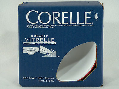 6 Corelle Ruby Red Rim Stripe 18 oz CEREAL BOWLS - BRAND NEW FACTORY SEALED BOX