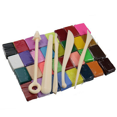 5 Tools+32 Colors Polymer Clay Fimo Block Modelling Moulding Sculpey DIY Toys