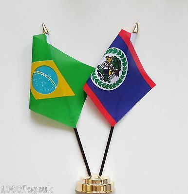 Brazil & Belize Double Friendship Table Flag Set