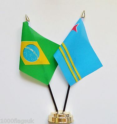 Brazil & Aruba Double Friendship Table Flag Set