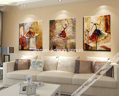 3pcs Hand painted Oil Canvas Wall Art Home Decor abstract dance NO Frame