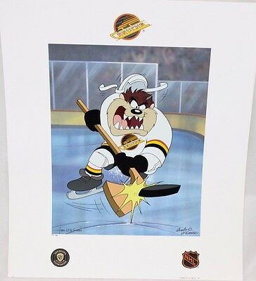 Looney Tunes VANCOUVER CANUCKS Warner Bros TAZ HOCKEY Slapshot Litho