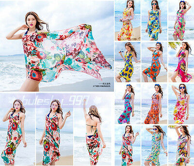 eab2d69691a04 Women Sexy Chiffon Bikini Cover Up Beach Swimwear Dress Scarf Pareo Sarong  Wrap
