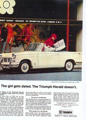 Triumph Herald Convertible 1147cc - Modern postcard by Vintage Ad Gallery