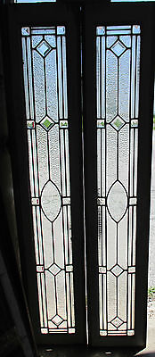 ~ Great Pair Antique Stained Glass Sidelites Beveled Jewels ~ Salvage ~