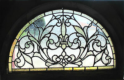 ~ ANTIQUE AMERICAN STAINED GLASS WINDOW 36 x 23 ARCHED ARCHITECTURAL SALVAGE ~