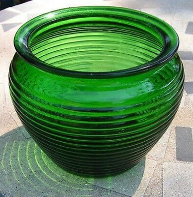 Snap Vintage Ribbed National Potteries Glass Planter Vase Green What