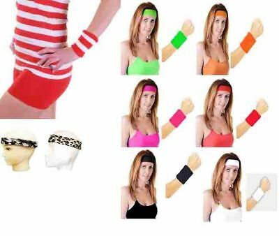 Ladies Head Band And Towelling Wrist Band Set Yoga Dance Tennis Sweatband 80s