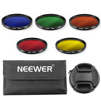 52MM Color Filter Kit(Blue/Yellow/Orange/Red/Green)+Lens Cap with Leash+Pouch