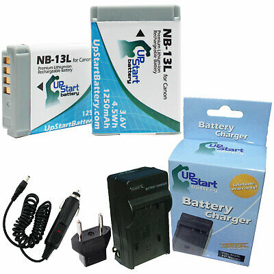 2x Battery +Charger +Car Plug +EU Adapter for Canon NB-13L Battery