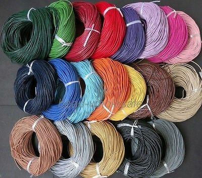 Lots 3/10M Real Leather Cord String Cord Charms Rope 1.5/ 2.0mm Necklace Making