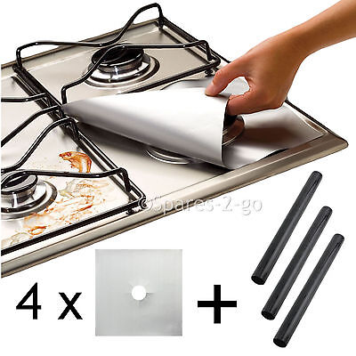 4 x UNIVERSAL Teflon Gas Hob Silver Protector & 3 x Heavy Duty Oven Cooker Liner