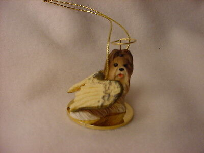 SHIH TZU Dog ANGEL Ornament HAND PAINTED Resin Figurine Christmas tan puppy