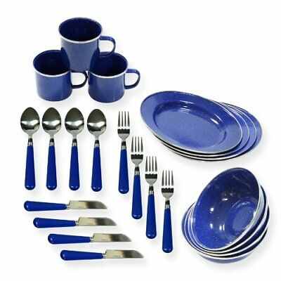 Stansport Enamel Camping Tableware Set, 24-Piece, Blue New
