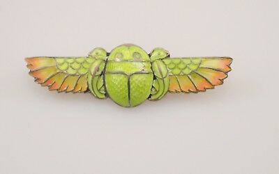 Exceptional Plique a Jour Egyptian Revival Art Deco 800 Silver Enamel Scarab Pin